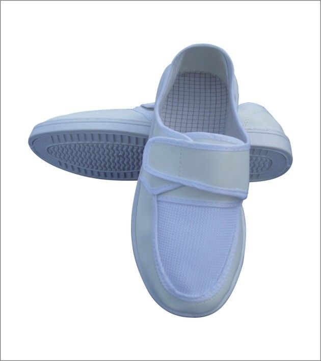 Anti Static White Mesh ESD Safety Shoes Easy Cleaning Rapid Drying With Magic Tape
