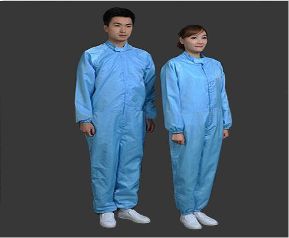 Safety Clean Room Garments Stand Collar ESD Coverall For Printing Industry